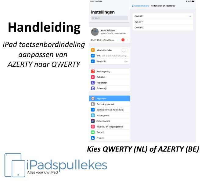 iPad AZERTY wisselen met QWERTY