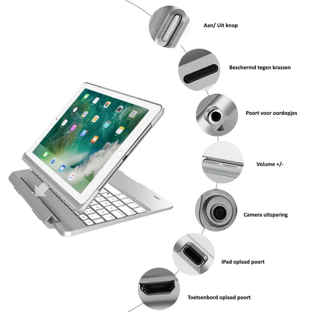 iPad 2018 toetsenbord met afneembare case zilver