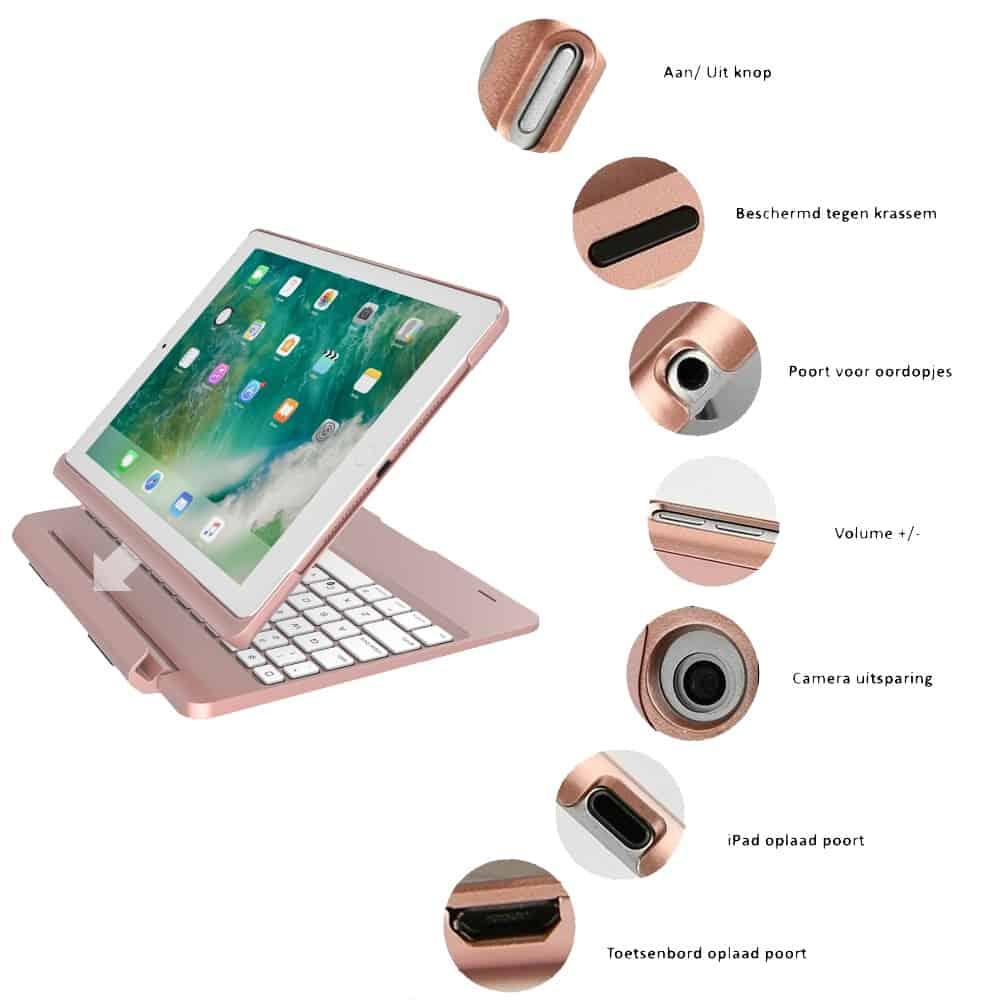 iPad Air 2 toetsenbord met afneembare case roze