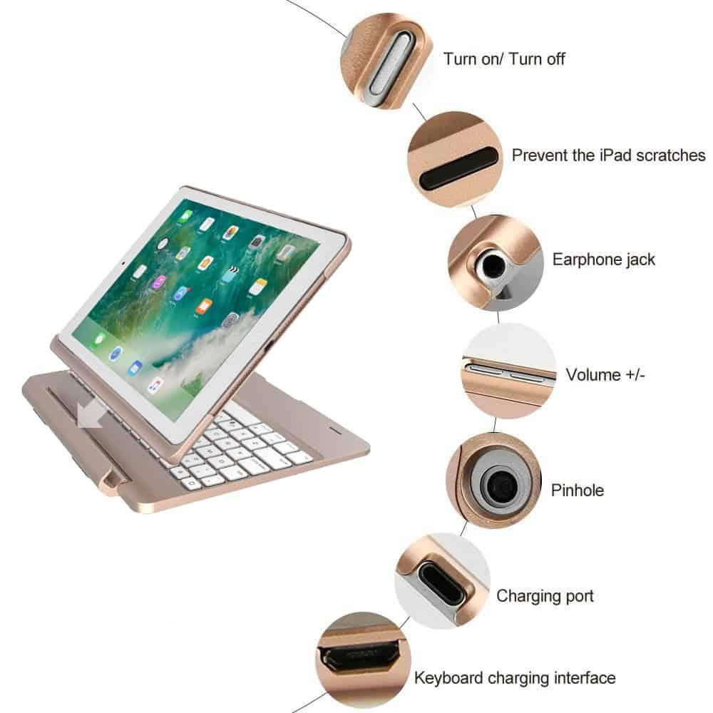 iPad Pro 9.7 toetsenbord met afneembare case goud
