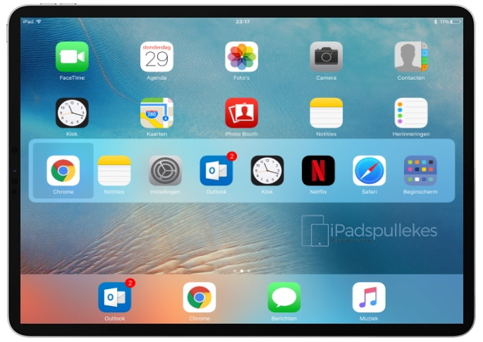 ipad toetsenbord sneltoets app overzicht