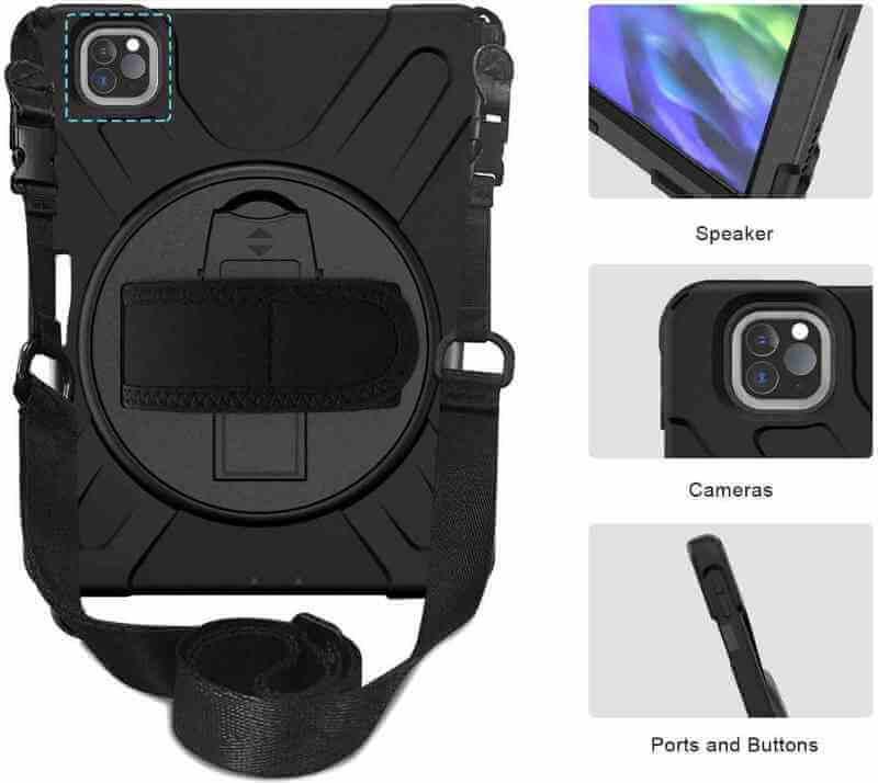 iPad Pro 11 Inch 2020 Protector Case met handvat en schouderriem en standaard